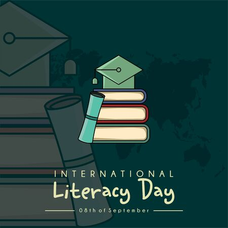 International Literacy Day vector design with a hat on a pile of books