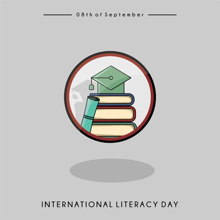 International Literacy Day vector design with logo that a hat on a pile of books  イラスト・ベクター素材
