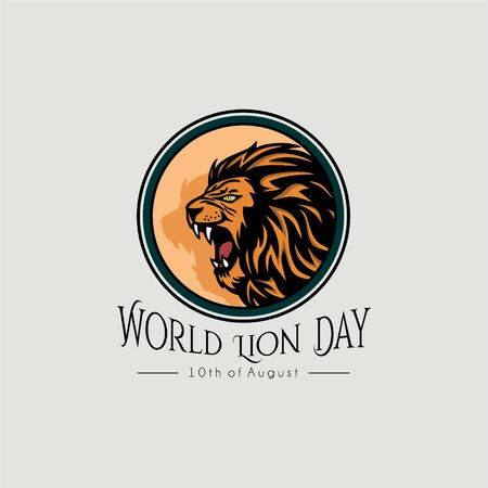 World lion day vector design with icon logo