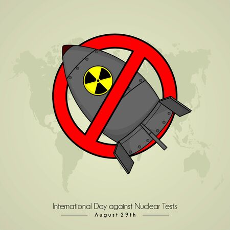 International Day Against Nuclear Test with stop Nuclear icon cartoon