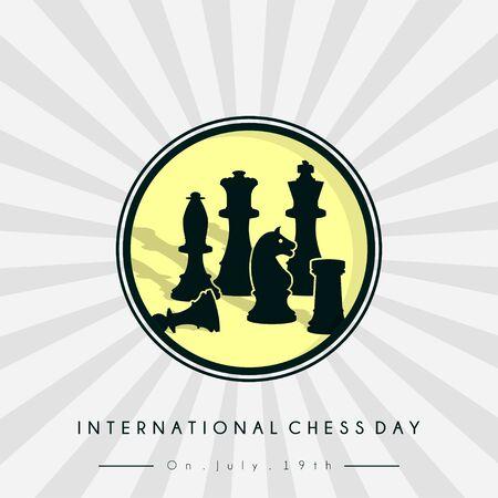 International Chess Day icon logo Stock Illustratie