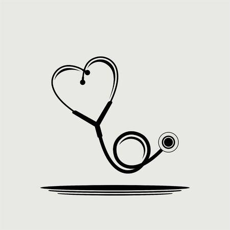 Heart stethoscope vector icon logo