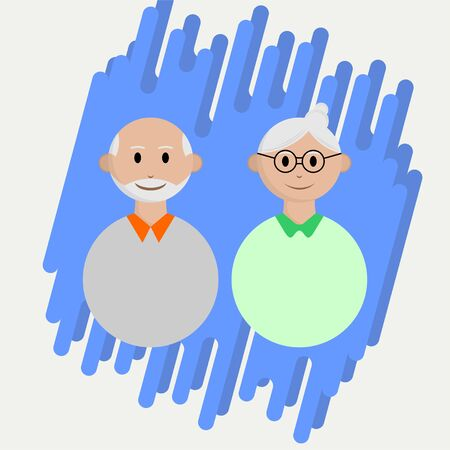 People oldman Icon, grandpa and grandma with blue background