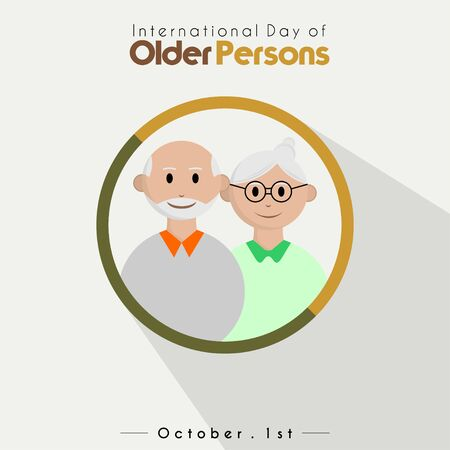 International day of older persons, grandpa and grandma cartoon vector in circle with shadow effect