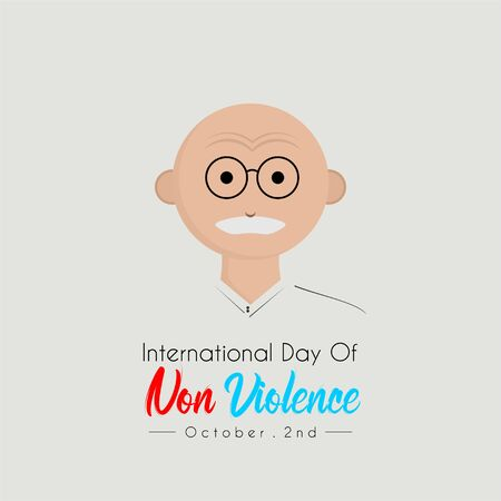 International day of Non Violence with india head oldman cartoon vector with eyeglasses