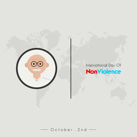 International day of Non Violence with india head oldman cartoon vector icon with eyeglasses, and worldmap background