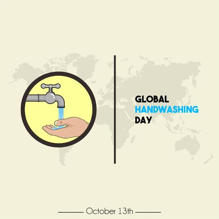 Global Handwashing Day with Icon Logo Right handwashing cartoon vector, handwashing with water from faucet and world map Background
