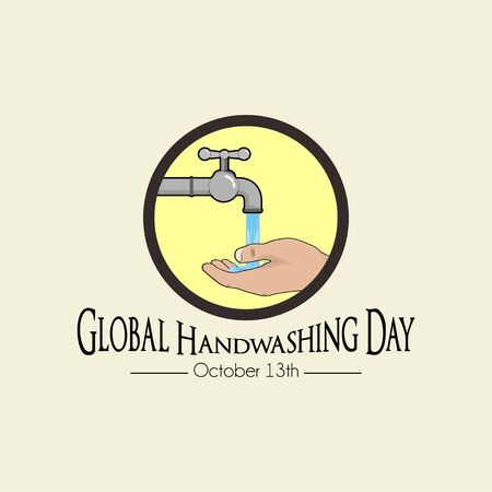 Global Handwashing Day with Icon Logo Right handwashing cartoon vector, handwashing with water from faucet Vectores