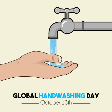 Global Handwashing Day with Right hand cartoon vector, handwashing with water from faucet