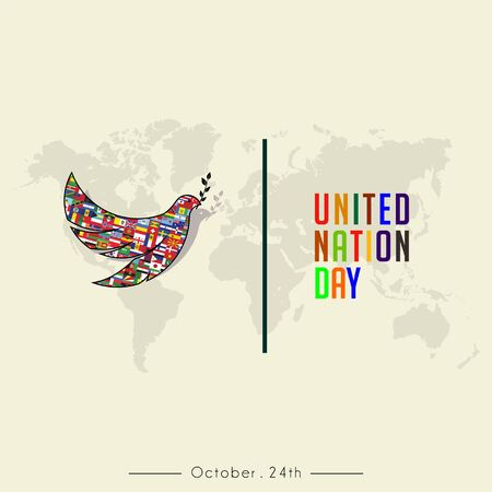 United Nation Day colorful text and The Pigeon Minimalist Logo with World Map Background