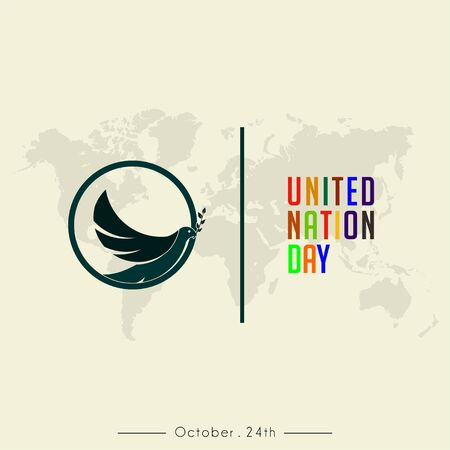 United Nation Day colorful text and The Pigeon Minimalist (Flags inside) logo with World Map Background