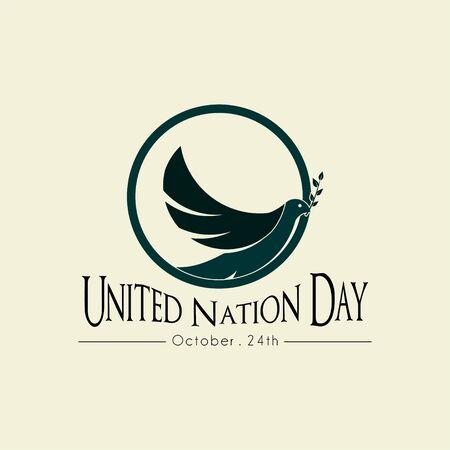 United Nation Day on October 24th with The Pigeon Minimalist Logo Ilustração