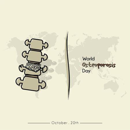 Journée mondiale de l'ostéoporose avec vecteur de dessin animé de la colonne vertébrale brisée par l'ostéoporose et fond de carte du monde