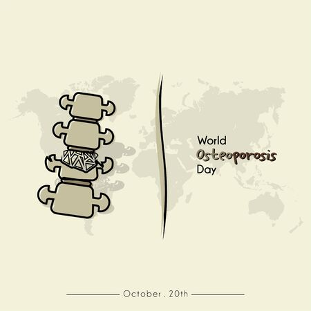 World Osteoporosis Day with Osteoporosis Broke Spine Cartoon Vector and world map Background