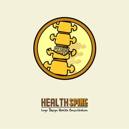 Osteoporosis, Broke Spine on Circle Cartoon Vector for Health Spine Logo Logo