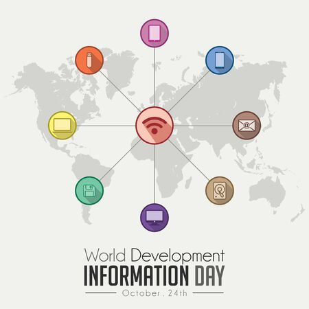 World Development Information Day on October 24th with colored icon and world map