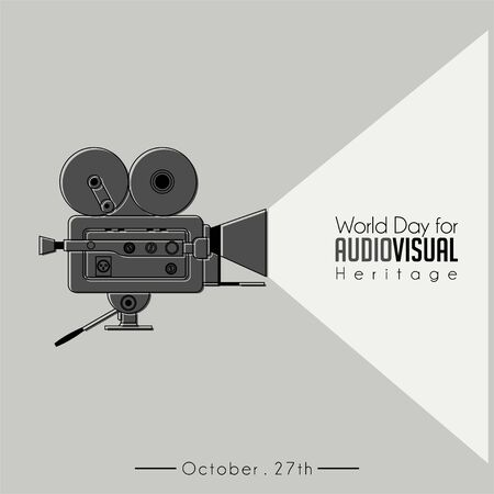 World Day For Audio Visual heritage with Classic Vintage Camcorder (old movie Camera) vector Ilustração