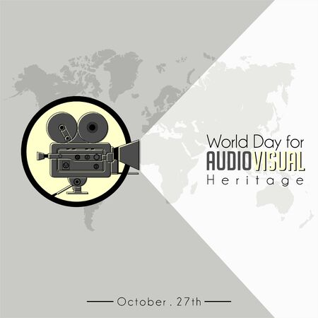 World Day For Audio Visual heritage with Classic Vintage Camcorder (old movie Camera) icon vector and world map background