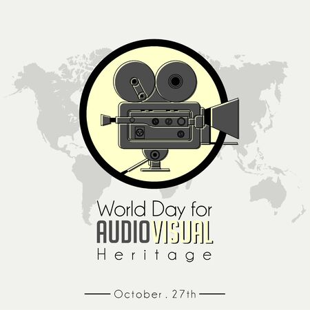 World Day For Audio Visual heritage, celebrate on October 27th, with Classic Vintage Camcorder (old movie Camera) icon vector