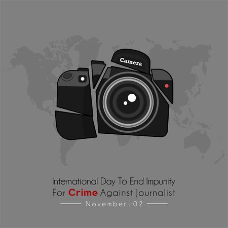 International Day to End Impunity for Crime Against Journalist with crash Journalist Camera Photo