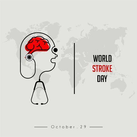 Journée mondiale de l'AVC avec stéthoscope qui détecte la santé du cerveau Vecteurs