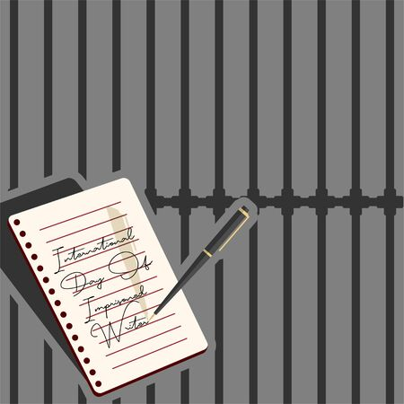 International Day Of Imprisoned Writer Design with a pen that writes on note book paper in prison