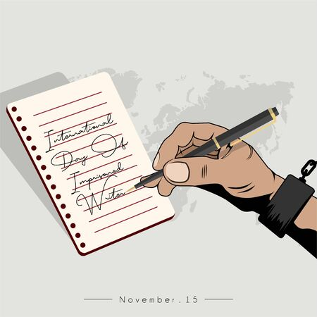 International Day Of Imprisoned Writer with the handcuffed hand is writing on note book paper