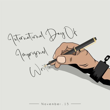 International Day Of Imprisoned Writer with the handcuffed hand is writing Ilustrace