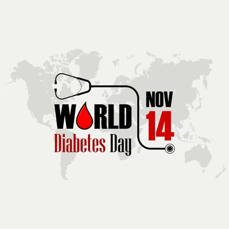 World Diabetes Day Typography with Stethoscope, celebrate on November 14th