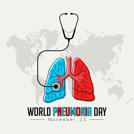 World Pneumonia Day, Red ble Lungs Color Cartoon Vector with stethoscope design Stock Illustratie