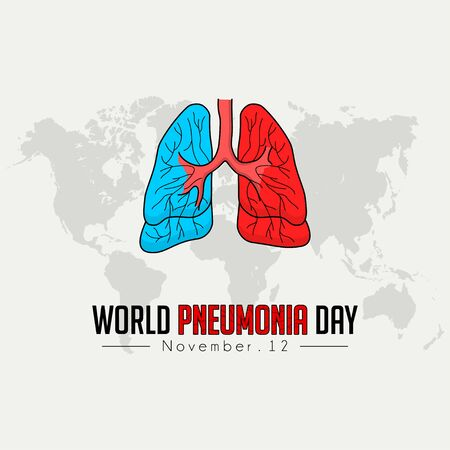 World Pneumonia Day, Red ble Lungs Color Cartoon Vector, world Map