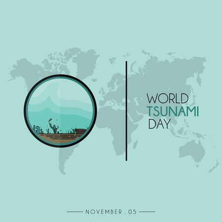 World Tsunami Day icon vector design, visible from the sea floor and sea life with world map