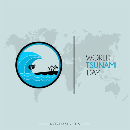 World Tsunami Day icon vector design, seen from the beach with world map Çizim