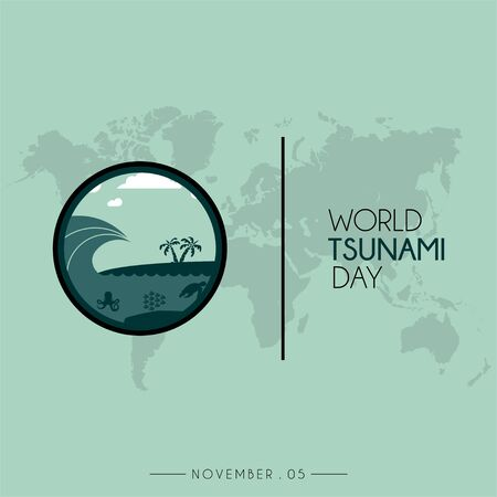 World Tsunami Day icon vector design, visible from the seashore and marine life with world map Çizim