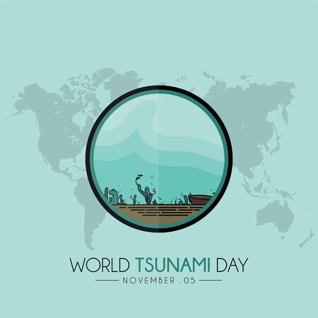 World Tsunami Day icon vector design on 05 November, visible from the sea floor and sea life