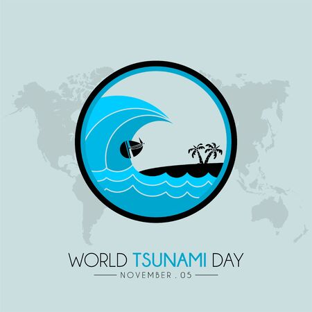 World Tsunami Day icon vector design on 05 November, seen from the beach
