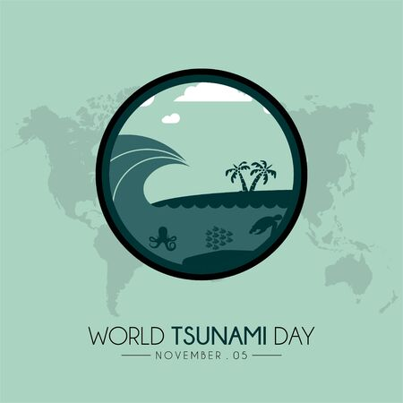 World Tsunami Day icon vector design on 05 November, visible from the seashore and marine life Stock Vector - 129154706