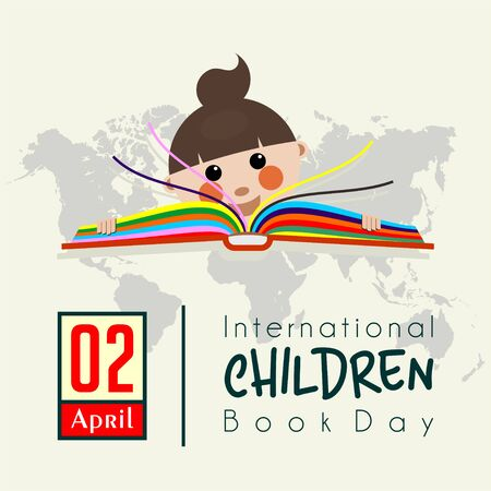 International Childrens Book Day with children read color books cartoon vector design 向量圖像