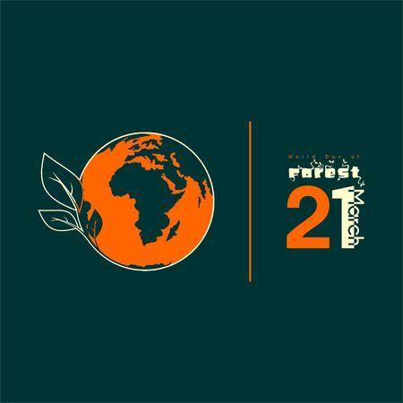World Day of Forest with world globe and leaf vector design Ilustração