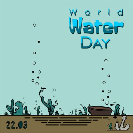 World Water Day with marine under water concept design