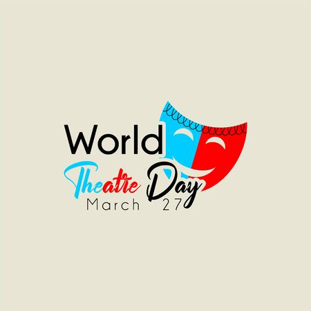 Typography for World Theater Day with mask vector cartoon