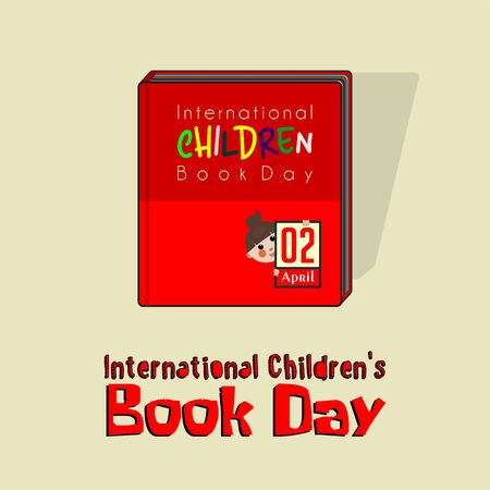 International Childrens Book Day with red book, childrens book vector cartoon design