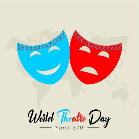 World Theater Day with mask vector cartoon Ilustrace