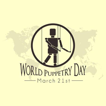 Día mundial de la marioneta con muñeco de marionetas en diseño vectorial de círculo