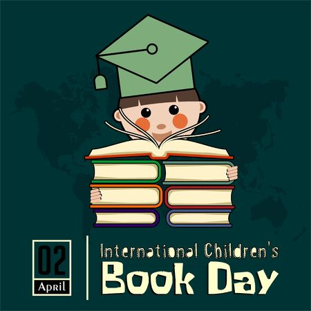 International Childrens Book Day on 2 April with children who have a lot of books 向量圖像