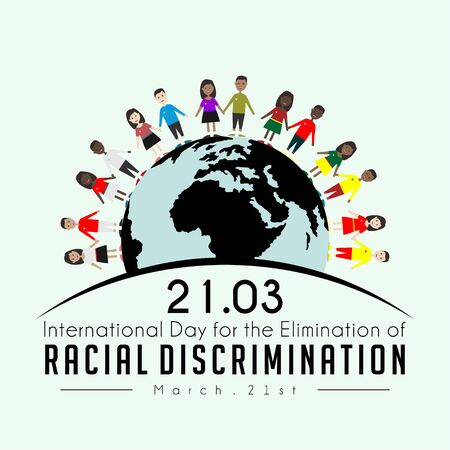 International Day for the Elimination of Racial Discrimination on march 21st with the colors of humans from various nations Ilustração