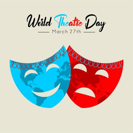 World Theater Day with world map on mask vector cartoon