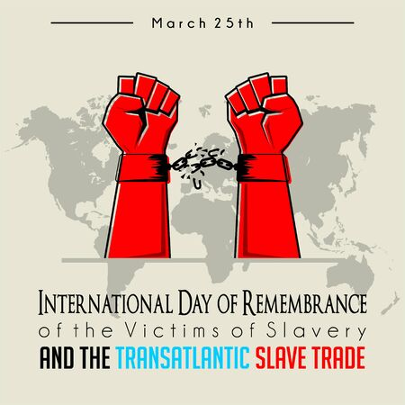 International Day of Remembrance of the Victims of Slavery and the Transatlantic Slave Trade with broken handcuffs on red hand Ilustração
