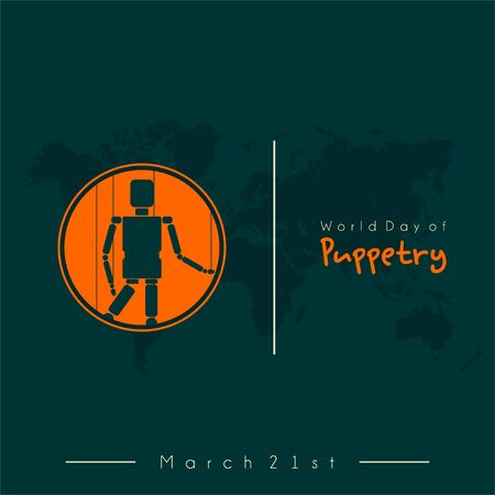 World Puppetry Day on March 21st with Puppetry doll on circle vector design Ilustración de vector