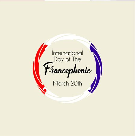 Typography design for International Day of the Franco phone with color (red white blue) circle concept